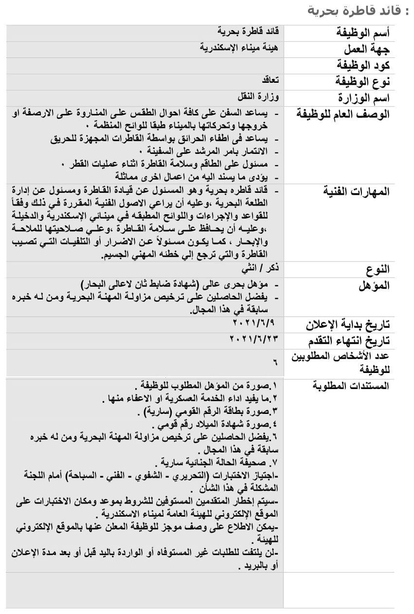 وظائف ميناء الاسكندرية 2021 وطريقة التقديم والمستندات المطلوبة 3