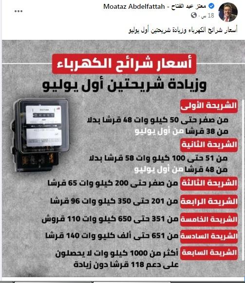 ننشر أسعار الكهرباء الجديدة أول يوليو 2021 والشرائح التي ستُطبق عليها هذه الزيادة 4