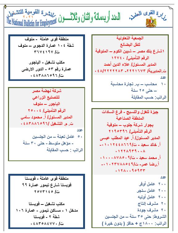 نشرة وزارة القوى العاملة والهجرة لشهر يونيو 2021