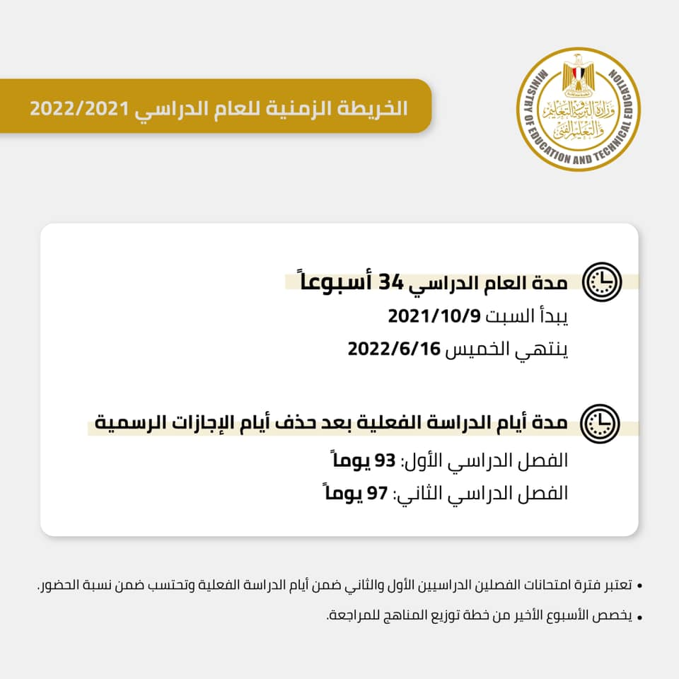 التعليم تحدد موعد بدء الدراسة والخريطة الزمنية للعام الدراسي الجديد 2022 3