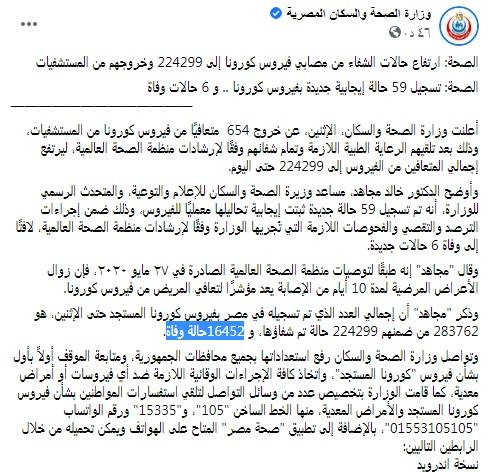 بيان سار من وزارة الصحة في ليلة العيد حول أعداد المصابين بفيروس كورونا اليوم وأعداد الوفيات 1