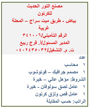 آلاف الوظائف المعلنة بنشرة وزارة القوى العاملة والهجرة لشهري يوليو وأغسطس 2021 6