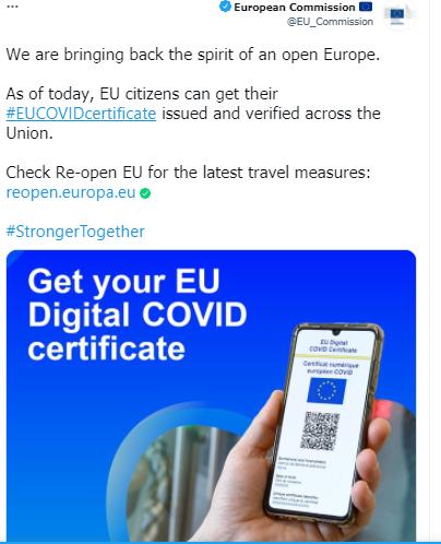 أوروبا تبدأ العمل بالشهادة الخضراء الخاصة بفيروس كورونا 1