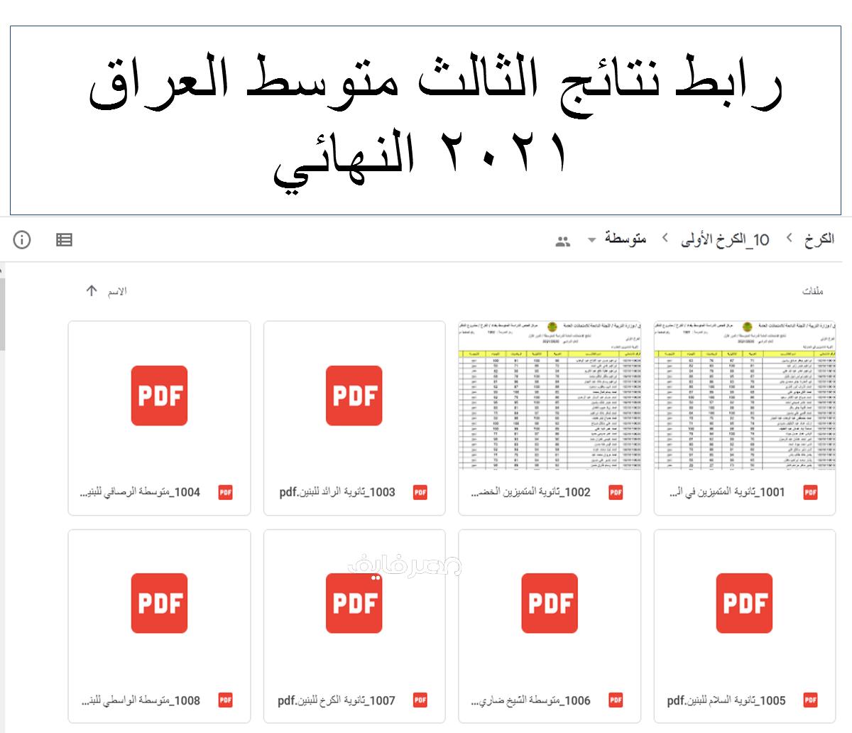 رابط نتائج الثالث متوسط العراق 2021 النهائي