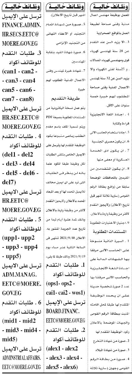 وظائف الأهرام الجمعة 10/9/2021.. جريدة الاهرام المصرية وظائف خالية 8
