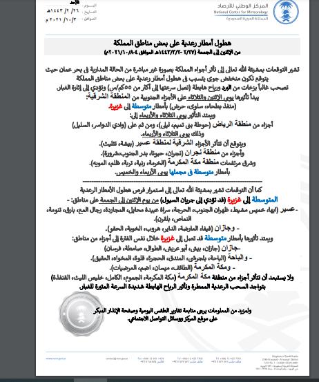 المركز الوطني للأرصاد السعودي يحذر من الحالة المدارية لإعصار شاهين على بعض مناطق المملكة 1