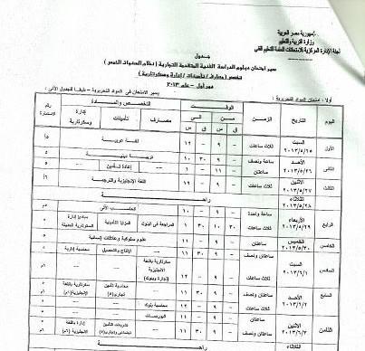 جدول امتحانات دبلوم التجارة 2013